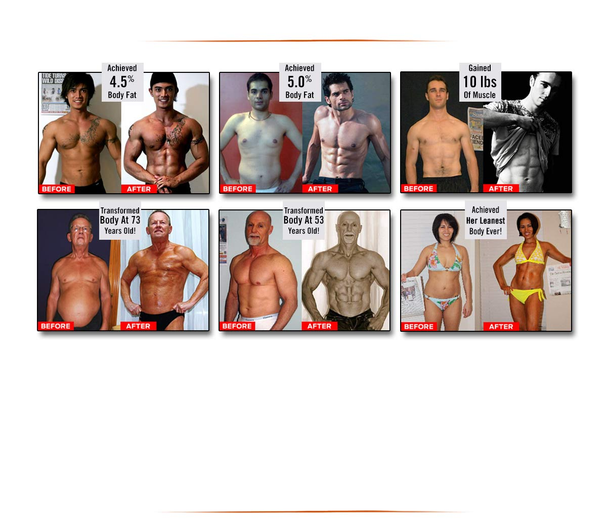 Before & After pictures showing the achievements of Maximize Your Muscle students